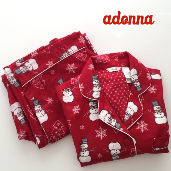 Adonna Other - Adonna Christmas Flannel Pajamas Red Snowman NWOT